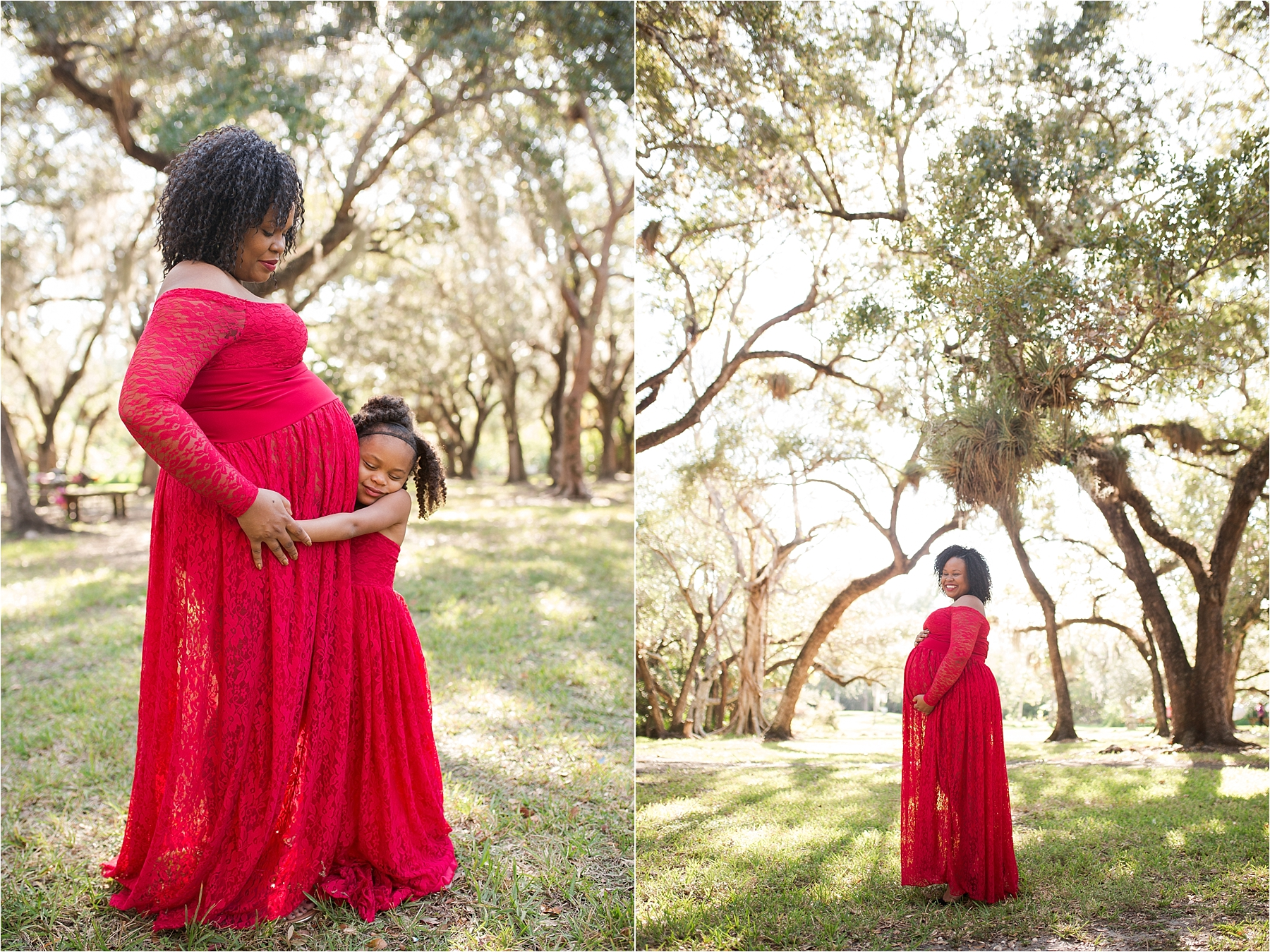 red dress maternity photos